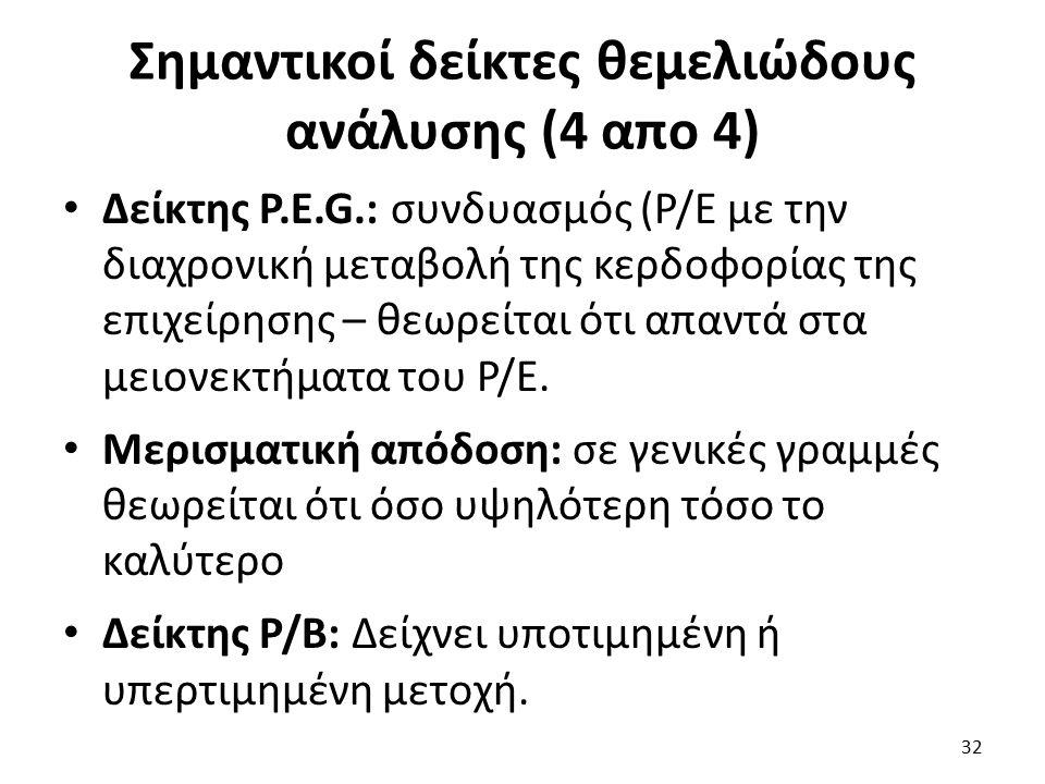Σημαντικοί δείκτες θεμελιώδους ανάλυσης (4 απο 4) Δείκτης P.E.G.: συνδυασμός (P/E με την διαχρονική μεταβολή της κερδοφορίας της επιχείρησης – θεωρείται ότι απαντά στα μειονεκτήματα του Ρ/Ε.