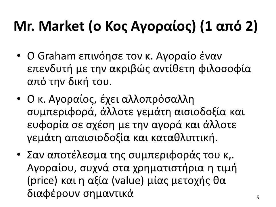Mr. Market (ο Κος Αγοραίος) (1 από 2) Ο Graham επινόησε τον κ.