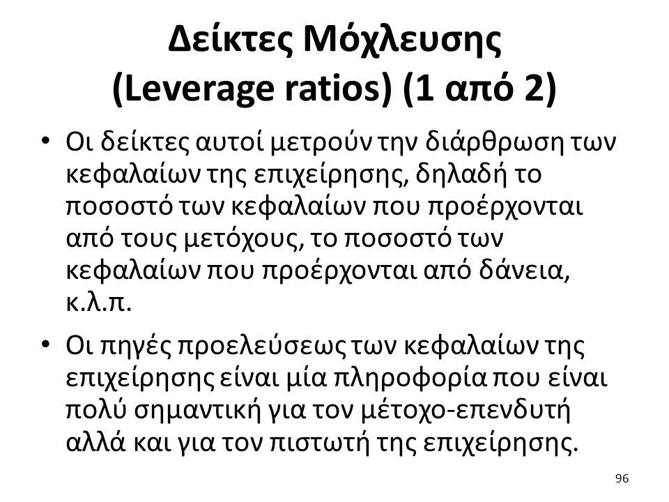 Δείκτες Μόχλευσης (Leverage ratios) (1 από 2) Οι δείκτες αυτοί μετρούν την διάρθρωση των κεφαλαίων της επιχείρησης, δηλαδή το ποσοστό των κεφαλαίων που προέρχονται από τους μετόχους, το ποσοστό των κεφαλαίων που προέρχονται από δάνεια, κ.λ.π.