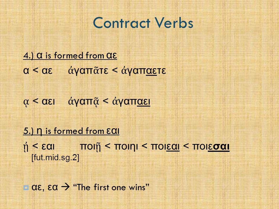 Contract Verbs 1.3 Paradigm – Contract Verbs (Pr.Ac.