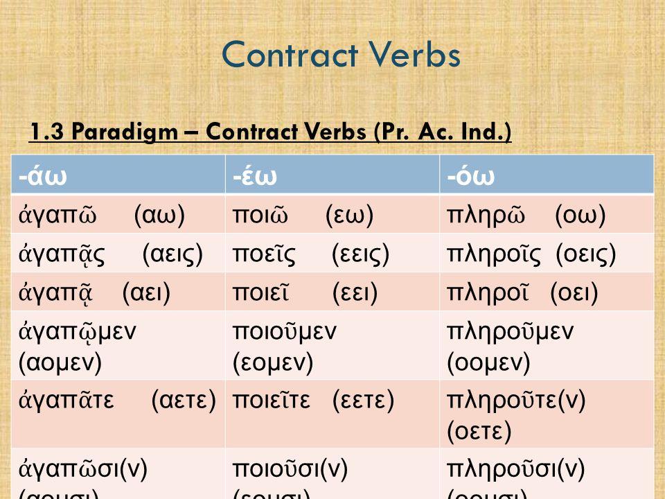 Contract Verbs  Practice p. 63  Warm-up  Parsing  Homework:  p. 64-65, no: 6-10