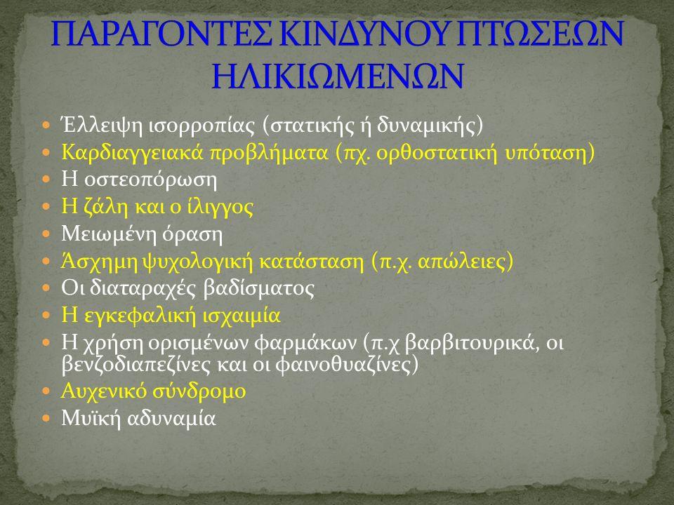 Έλλειψη ισορροπίας (στατικής ή δυναμικής) Καρδιαγγειακά προβλήματα (πχ. ορθοστατική υπόταση) Η οστεοπόρωση Η ζάλη και ο ίλιγγος Μειωμένη όραση Άσχημη