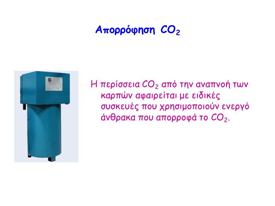 Απορρόφηση CO 2 Η περίσσεια CO 2 από την αναπνοή των καρπών αφαιρείται με ειδικές συσκευές που χρησιμοποιούν ενεργό άνθρακα που απορροφά το CO 2.