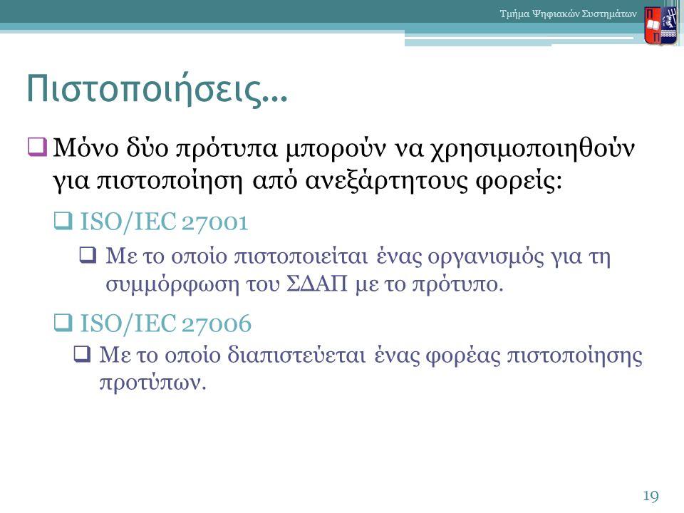 Πιστοποιήσεις…  Mόνο δύο πρότυπα μπορούν να χρησιμοποιηθούν για πιστοποίηση από ανεξάρτητους φορείς:  ISO/IEC 27001  Με το οποίο πιστοποιείται ένας