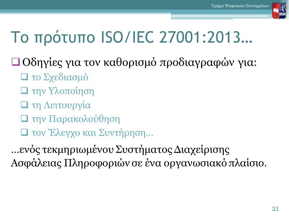Το πρότυπο ISO/IEC 27001:2013…  Οδηγίες για τον καθορισμό προδιαγραφών για:  το Σχεδιασμό  την Υλοποίηση  τη Λειτουργία  την Παρακολούθηση  τον
