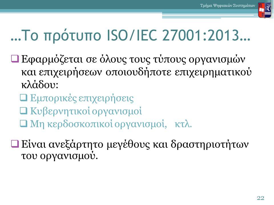…Το πρότυπο ISO/IEC 27001:2013…  Εφαρμόζεται σε όλους τους τύπους οργανισμών και επιχειρήσεων οποιουδήποτε επιχειρηματικού κλάδου:  Εμπορικές επιχει