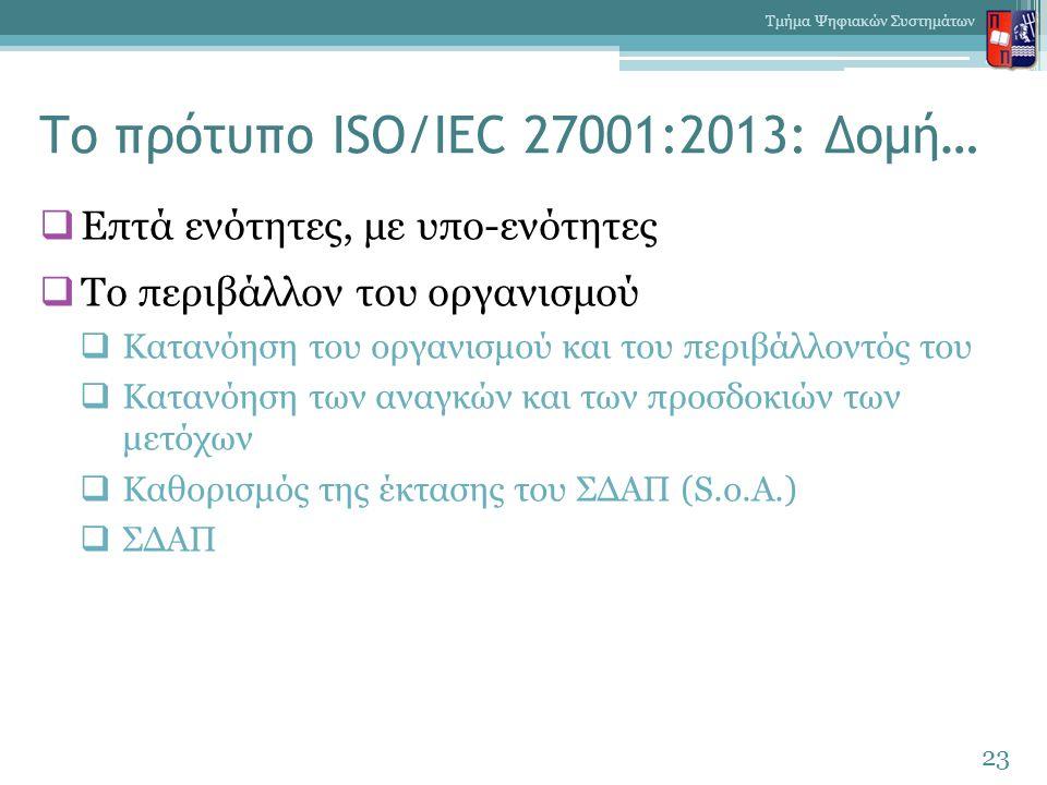 Το πρότυπο ISO/IEC 27001:2013: Δομή…  Επτά ενότητες, με υπο-ενότητες  Το περιβάλλον του οργανισμού  Κατανόηση του οργανισμού και του περιβάλλοντός