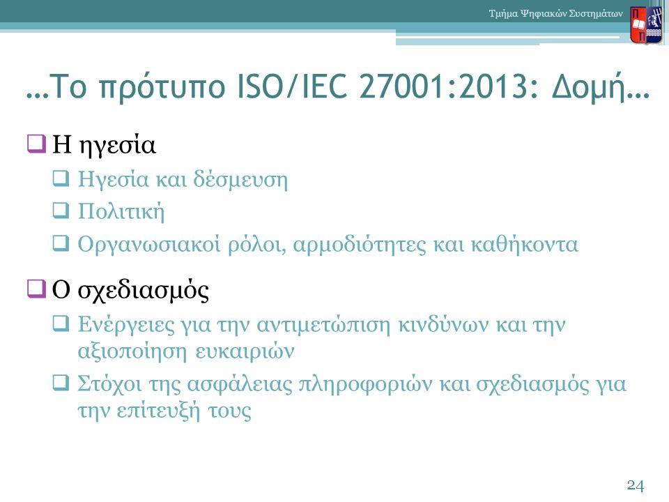 …Το πρότυπο ISO/IEC 27001:2013: Δομή…  Η ηγεσία  Ηγεσία και δέσμευση  Πολιτική  Οργανωσιακοί ρόλοι, αρμοδιότητες και καθήκοντα  Ο σχεδιασμός  Εν