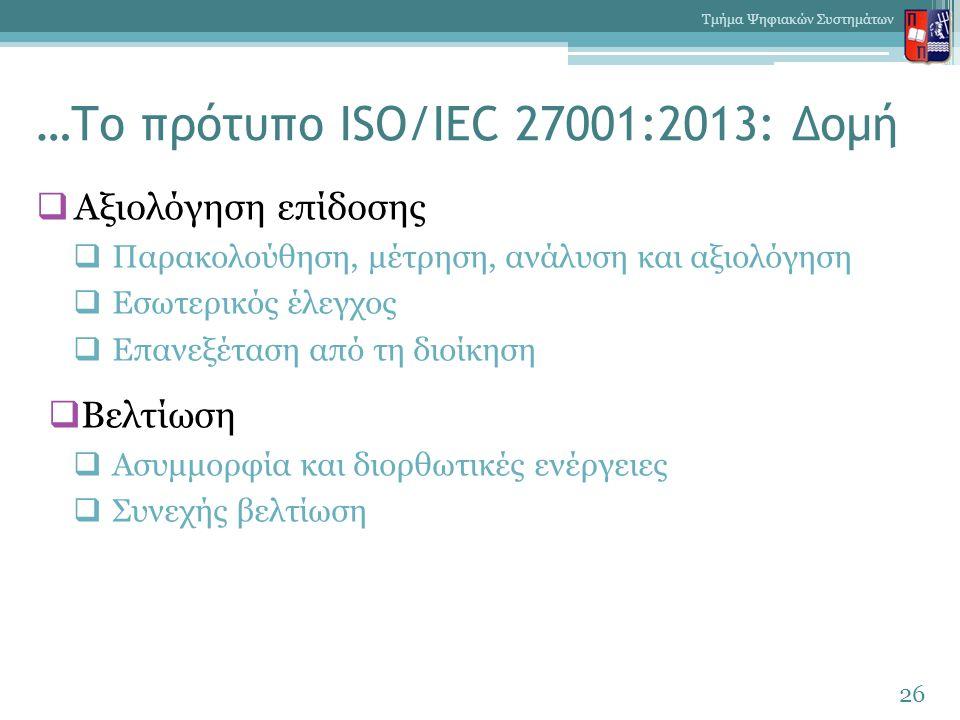 …Το πρότυπο ISO/IEC 27001:2013: Δομή  Αξιολόγηση επίδοσης  Παρακολούθηση, μέτρηση, ανάλυση και αξιολόγηση  Εσωτερικός έλεγχος  Επανεξέταση από τη