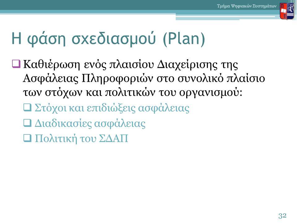 Η φάση σχεδιασμού (Plan)  Καθιέρωση ενός πλαισίου Διαχείρισης της Ασφάλειας Πληροφοριών στο συνολικό πλαίσιο των στόχων και πολιτικών του οργανισμού: