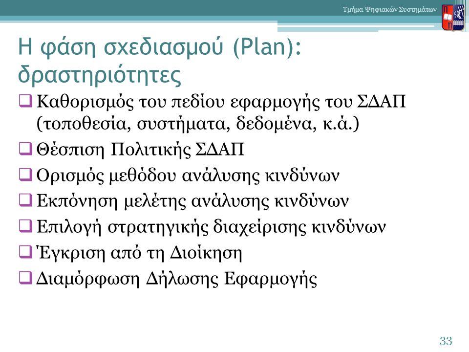Η φάση σχεδιασμού (Plan): δραστηριότητες  Καθορισμός του πεδίου εφαρμογής του ΣΔΑΠ (τοποθεσία, συστήματα, δεδομένα, κ.ά.)  Θέσπιση Πολιτικής ΣΔΑΠ 