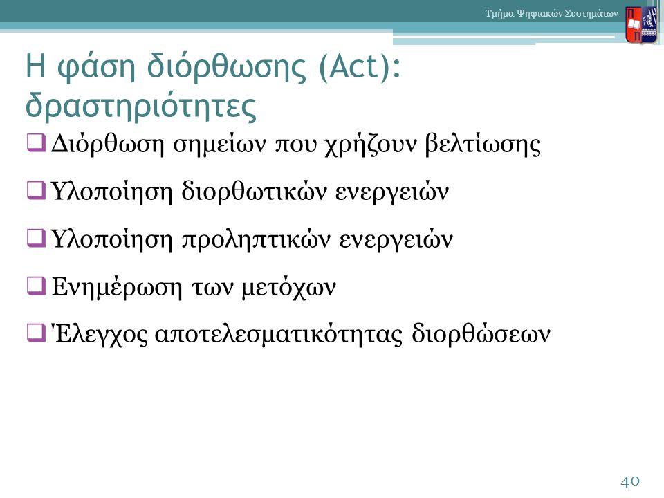 Η φάση διόρθωσης (Act): δραστηριότητες  Διόρθωση σημείων που χρήζουν βελτίωσης  Υλοποίηση διορθωτικών ενεργειών  Υλοποίηση προληπτικών ενεργειών 