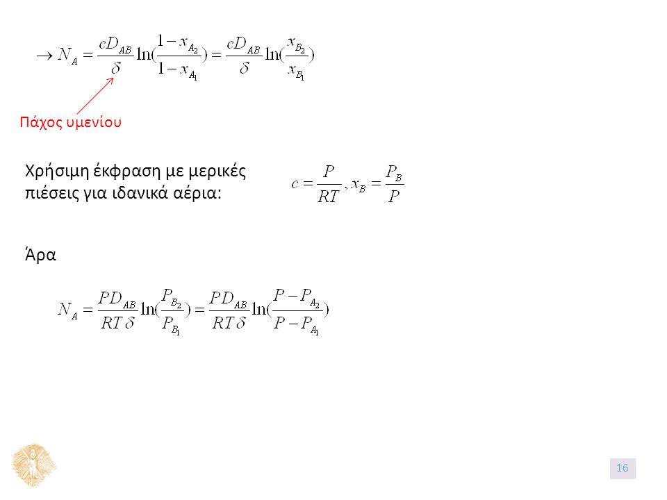 Πάχος υμενίου Χρήσιμη έκφραση με μερικές πιέσεις για ιδανικά αέρια: Άρα 16