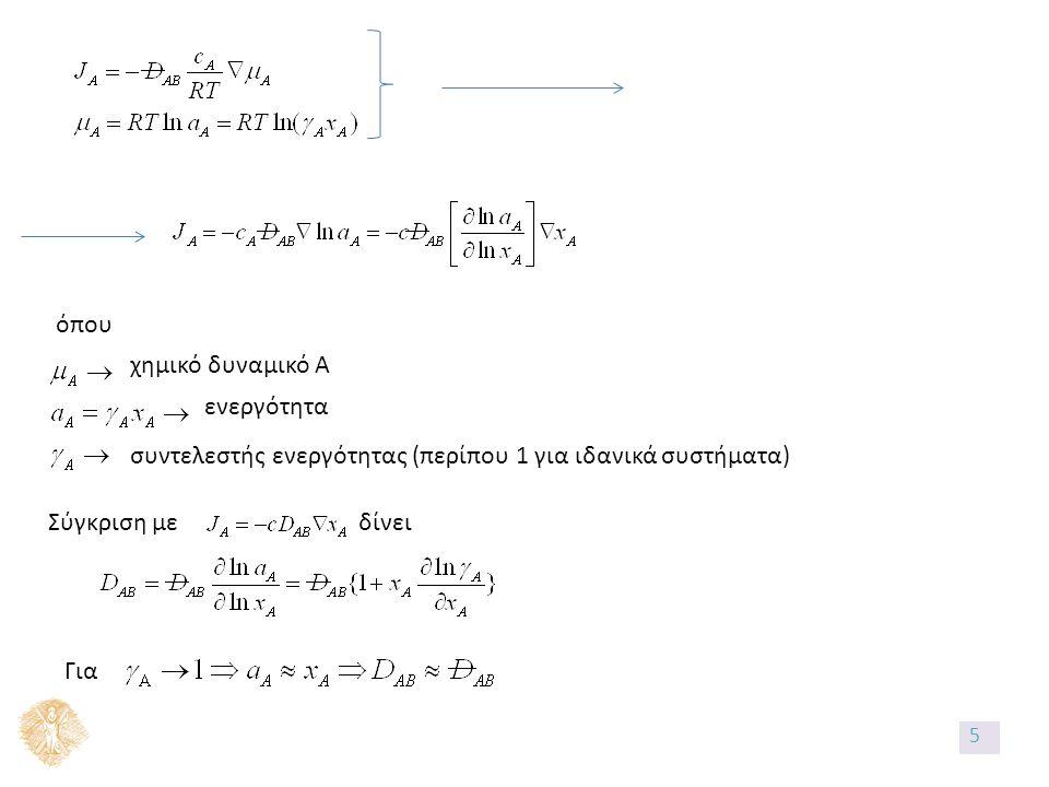 Διάχυση σε μόνιμες συνθήκες Εισροή – εκροή ± παραγωγή=0 Χωρίς χημική αντίδραση: εισροή = εκροή δλδ για ουσία Α: όπου επιφάνεια κάθετη στη ροή flux Ερώτηση: Ποια είναι η επιφάνεια S.