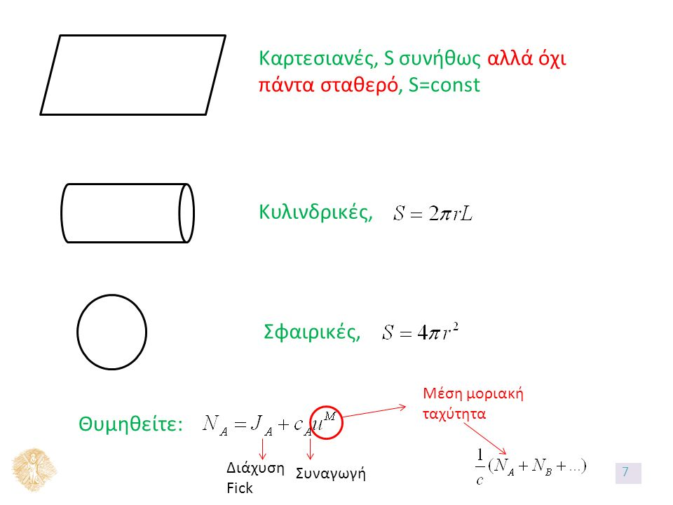 Καρτεσιανές, S συνήθως αλλά όχι πάντα σταθερό, S=const Κυλινδρικές, Σφαιρικές, Θυμηθείτε: Διάχυση Fick Συναγωγή Μέση μοριακή ταχύτητα 7