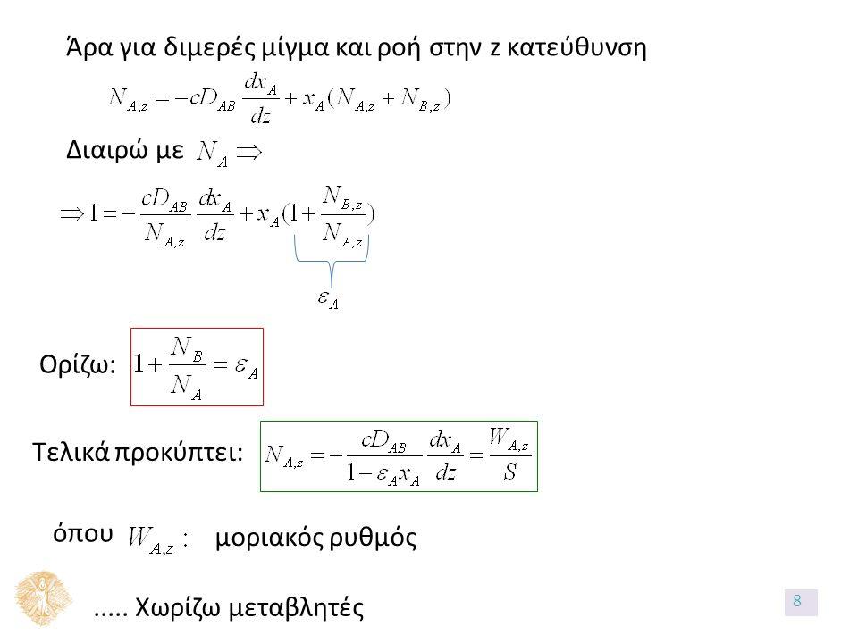 Άρα για διμερές μίγμα και ροή στην z κατεύθυνση Διαιρώ με Ορίζω: Τελικά προκύπτει: όπου μοριακός ρυθμός..... Χωρίζω μεταβλητές 8