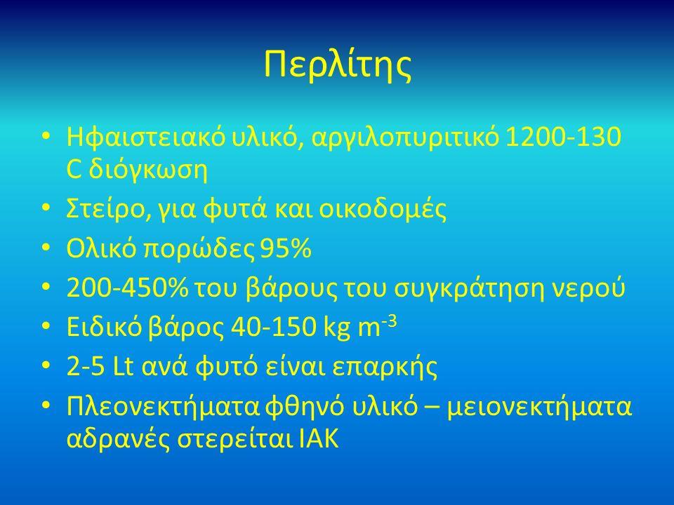 Περλίτης Ηφαιστειακό υλικό, αργιλοπυριτικό 1200-130 C διόγκωση Στείρο, για φυτά και οικοδομές Ολικό πορώδες 95% 200-450% του βάρους του συγκράτηση νερού Ειδικό βάρος 40-150 kg m -3 2-5 Lt ανά φυτό είναι επαρκής Πλεονεκτήματα φθηνό υλικό – μειονεκτήματα αδρανές στερείται ΙΑΚ