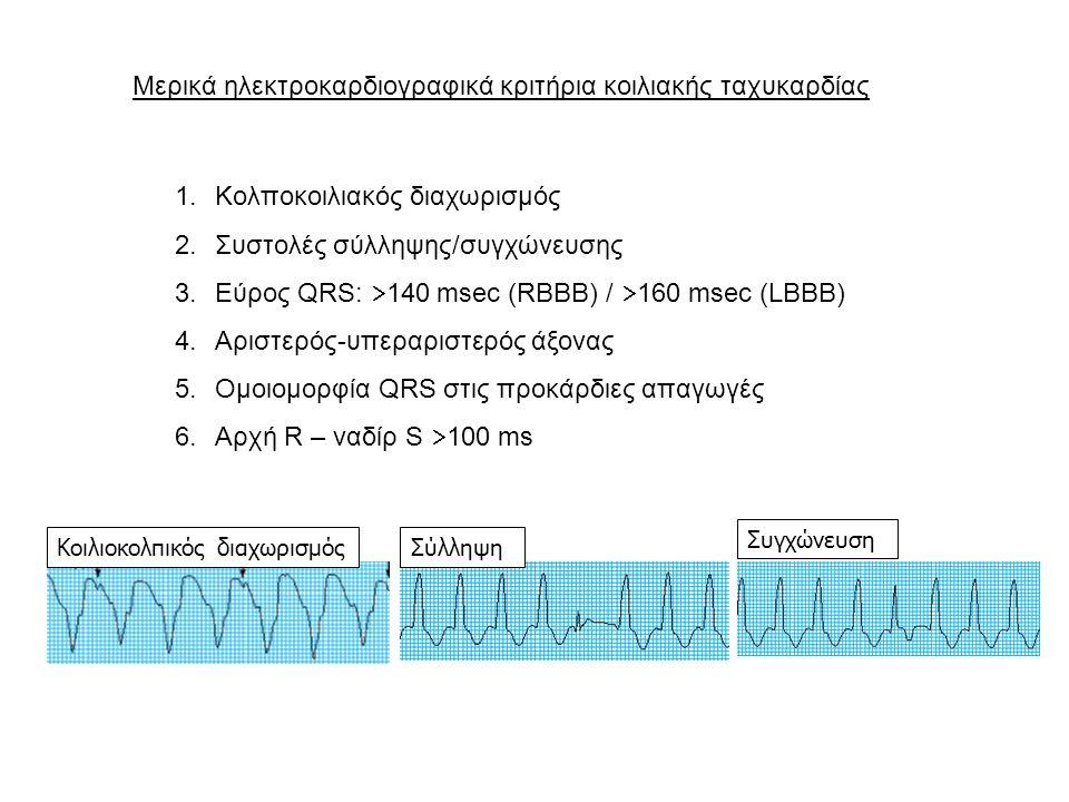 Κοιλιακή ταχυκαρδία  Ηλεκτρική αστάθεια κοιλιακού μυοκαρδίου  Παραγωγή: αριστερή ή δεξιά κοιλία (QRS >120 ms)  Αναστρέψιμες διαταραχές (ηλεκτρολύτες, ισχαιμία, φάρμακα)  Σύνηθες υπόστρωμα: οργανική καρδιοπάθεια, χρόνιες ουλές  Εμμένουσα: διάρκεια  30 sec ή πρόκληση αιμοδυναμικής επιβάρυνσης  Μη εμμένουσα: διάρκεια  30 sec  Μετάπτωση σε κοιλιακή μαρμαρυγή  Kλινική εικόνα: συχνότητα ταχυκαρδίας, βαρύτητα υποκείμενης νόσου  Μεταβολή έντασης 1 ου τόνου  Πιθανή παρουσία σφαγιτιδικών κυμάτων (Cannon waves)