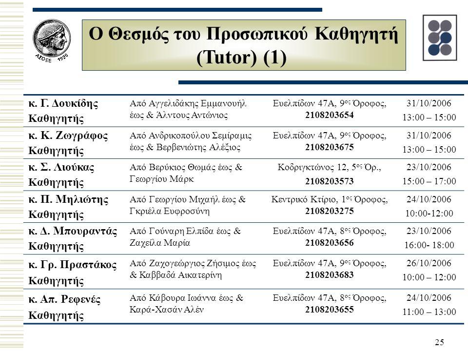 25 Ο Θεσμός του Προσωπικού Καθηγητή ( Tutor) (1) κ.