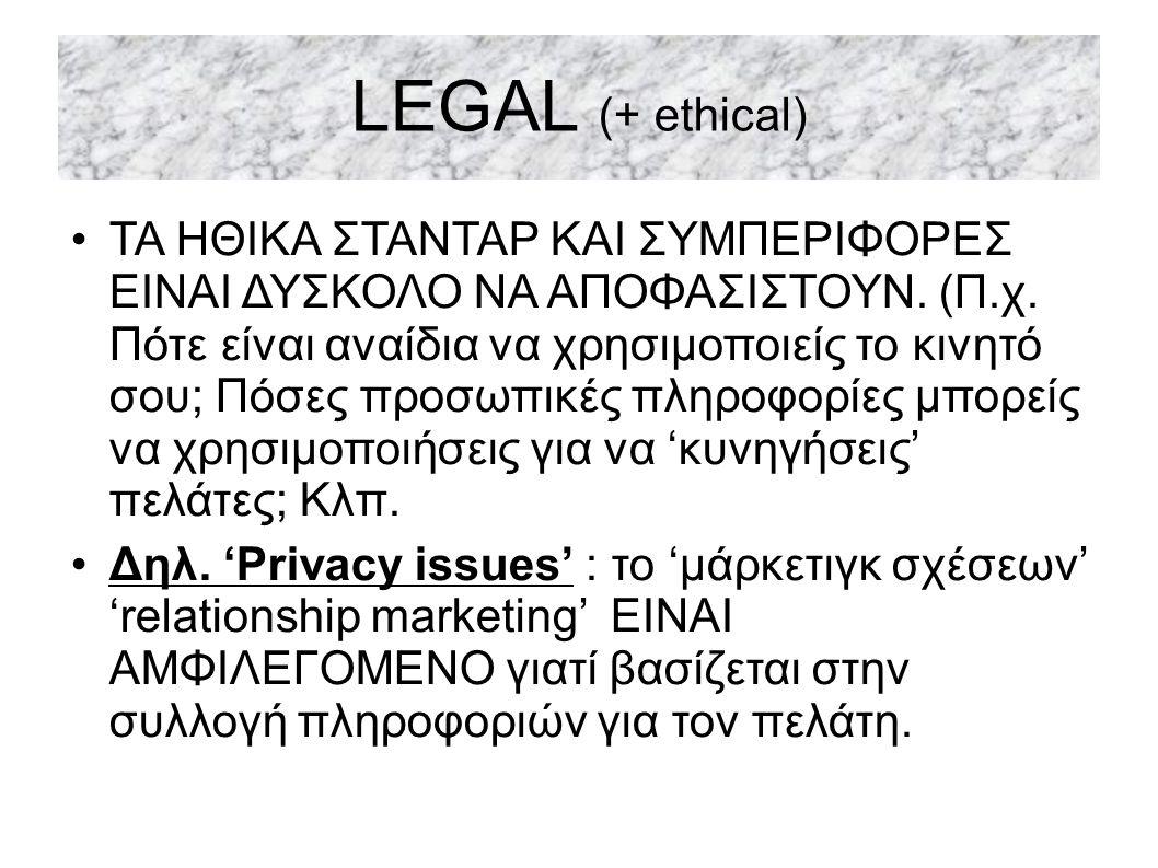 LEGAL (+ ethical) ΤΑ ΗΘΙΚΑ ΣΤΑΝΤΑΡ ΚΑΙ ΣΥΜΠΕΡΙΦΟΡΕΣ ΕΙΝΑΙ ΔΥΣΚΟΛΟ ΝΑ ΑΠΟΦΑΣΙΣΤΟΥΝ.