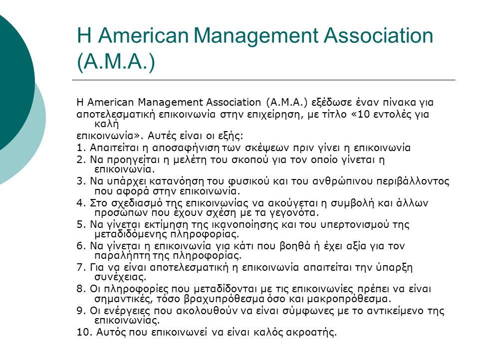 Η American Management Association (A.M.A.) Η American Management Association (A.M.A.) εξέδωσε έναν πίνακα για αποτελεσματική επικοινωνία στην επιχείρηση, με τίτλο «10 εντολές για καλή επικοινωνία».