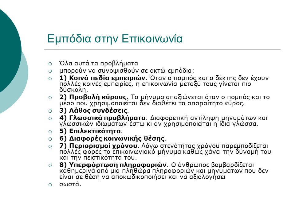 Εμπόδια στην Επικοινωνία  Όλα αυτά τα προβλήματα  μπορούν να συνοψισθούν σε οκτώ εμπόδια:  1) Κοινά πεδία εμπειριών.