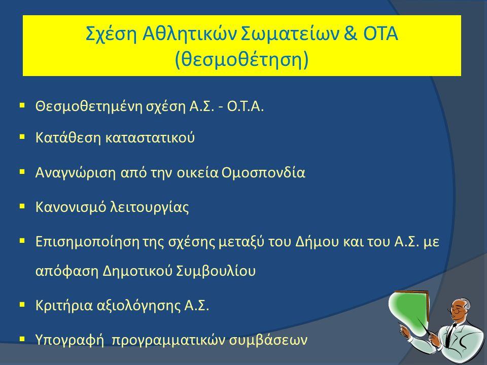 .. Σχέση Αθλητικών Σωματείων & ΟΤΑ (θεσμοθέτηση)  Θεσμοθετημένη σχέση Α.Σ.