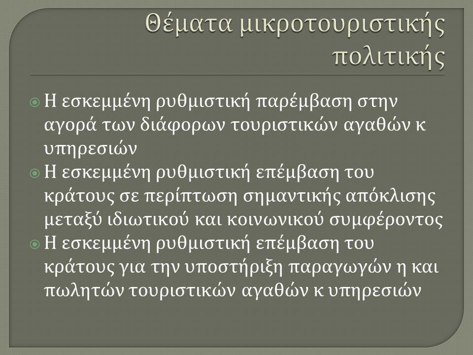  Η εσκεμμένη ρυθμιστική παρέμβαση στην αγορά των διάφορων τουριστικών αγαθών κ υπηρεσιών  Η εσκεμμένη ρυθμιστική επέμβαση του κράτους σε περίπτωση σημαντικής απόκλισης μεταξύ ιδιωτικού και κοινωνικού συμφέροντος  Η εσκεμμένη ρυθμιστική επέμβαση του κράτους για την υποστήριξη παραγωγών η και πωλητών τουριστικών αγαθών κ υπηρεσιών