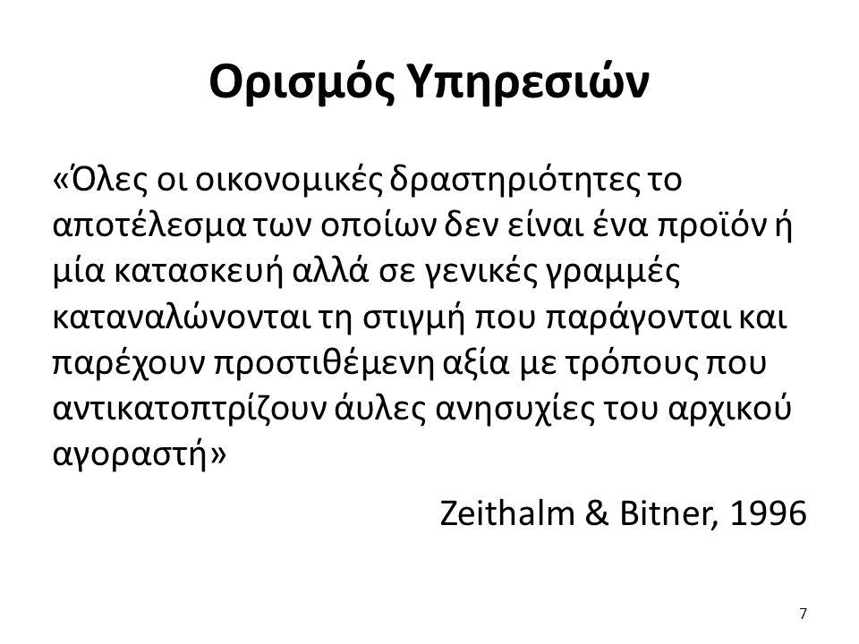 Ορισμός Υπηρεσιών «Όλες οι οικονομικές δραστηριότητες το αποτέλεσμα των οποίων δεν είναι ένα προϊόν ή μία κατασκευή αλλά σε γενικές γραμμές καταναλώνονται τη στιγμή που παράγονται και παρέχουν προστιθέμενη αξία με τρόπους που αντικατοπτρίζουν άυλες ανησυχίες του αρχικού αγοραστή» Zeithalm & Bitner, 1996 7