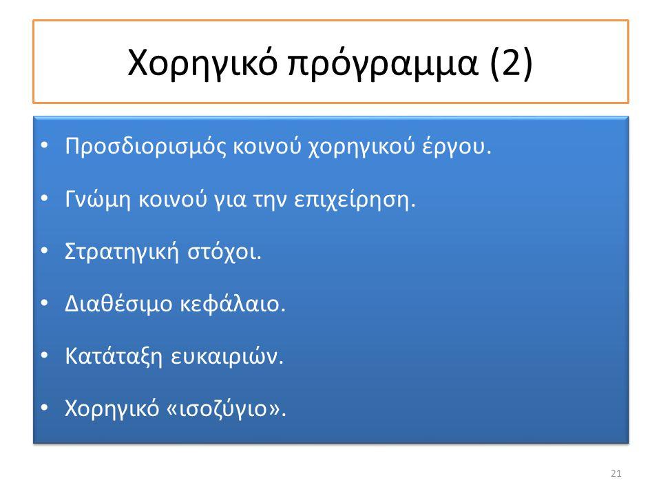 Χορηγικό πρόγραμμα (2) Προσδιορισμός κοινού χορηγικού έργου.