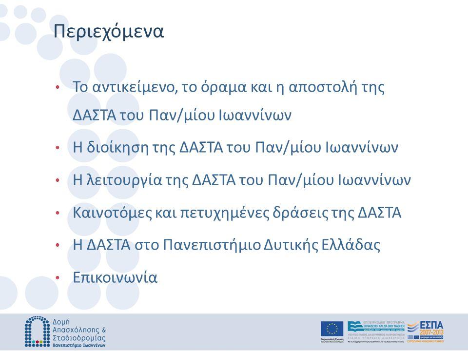 Το αντικείμενο, το όραμα και η αποστολή της ΔΑΣΤΑ του Παν/μίου Ιωαννίνων Η διοίκηση της ΔΑΣΤΑ του Παν/μίου Ιωαννίνων Η λειτουργία της ΔΑΣΤΑ του Παν/μίου Ιωαννίνων Καινοτόμες και πετυχημένες δράσεις της ΔΑΣΤΑ H ΔΑΣΤΑ στο Πανεπιστήμιο Δυτικής Ελλάδας Επικοινωνία