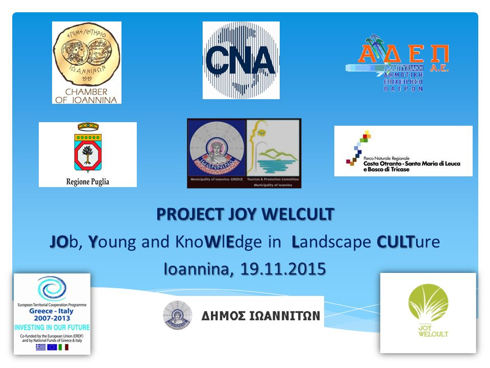 PROJECT JOY WELCULT JO YWELCULT JOb, Young and KnoWlEdge in Landscape CULTure Ioannina, 19.11.2015