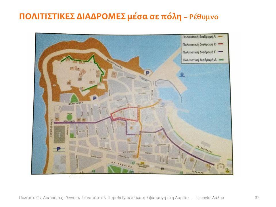 ΠΟΛΙΤΙΣΤΙΚΕΣ ΔΙΑΔΡΟΜΕΣ μέσα σε πόλη – Ρέθυμνο Πολιτιστικές Διαδρομές - Έννοια, Σκοπιμότητα, Παραδείγματα και η Εφαρμογή στη Λάρισα - Γεωργία Λάλου32