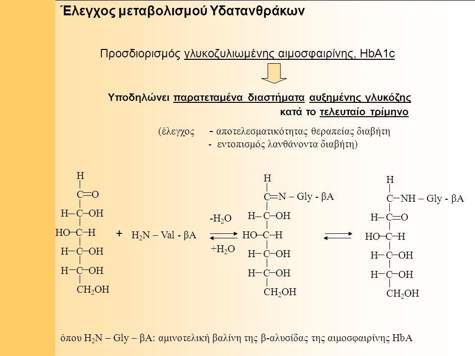 1 Έλεγχος μεταβολισμού Υδατανθράκων Προσδιορισμός γλυκοζυλιωμένης αιμοσφαιρίνης, HbA1c Υποδηλώνει παρατεταμένα διαστήματα αυξημένης γλυκόζης κατά το τελευταίο τρίμηνο H C O H C OH HO C H H C OH CH 2 OH + H 2 N – Val - βΑ H C H C OH HO C H H C OH CH 2 OH N – Gly - βΑ Η C H C O HO C H H C OH CH 2 OH NΗ – Gly - βΑ -Η 2 Ο +Η 2 Ο όπου H 2 N – Gly – βΑ: αμινοτελική βαλίνη της β-αλυσίδας της αιμοσφαιρίνης HbA (έλεγχος - αποτελεσματικότητας θεραπείας διαβήτη - εντοπισμός λανθάνοντα διαβήτη)