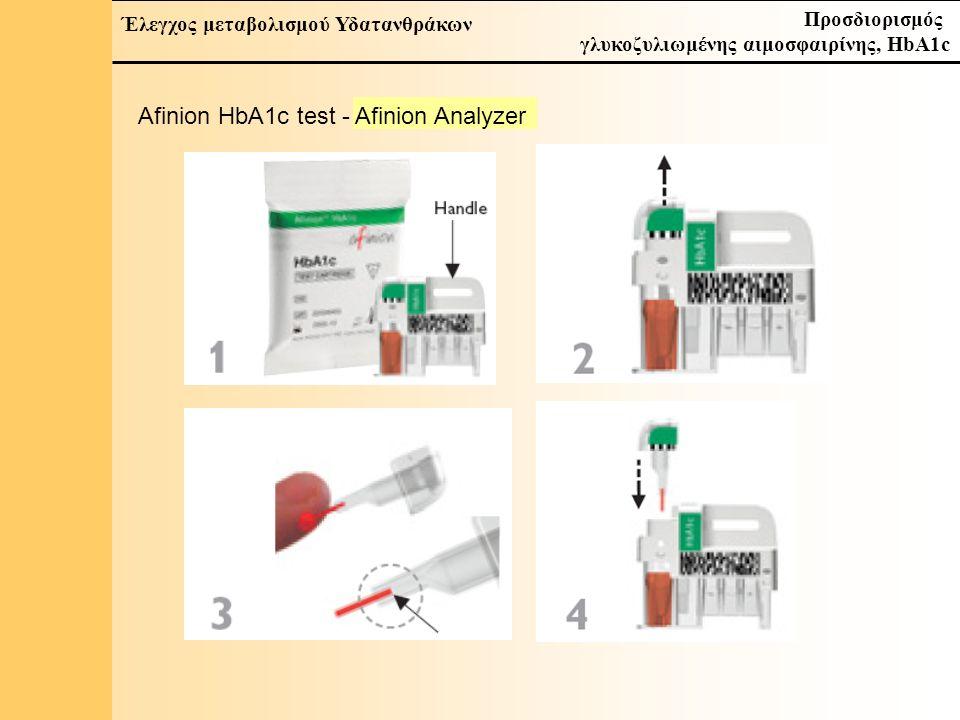 10 Έλεγχος μεταβολισμού Υδατανθράκων Προσδιορισμός γλυκοζυλιωμένης αιμοσφαιρίνης, HbA1c Afinion HbA1c test - Afinion Analyzer