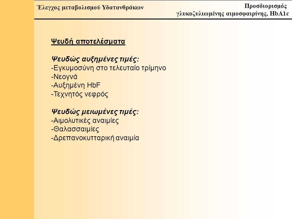 20 Έλεγχος μεταβολισμού Υδατανθράκων Προσδιορισμός γλυκοζυλιωμένης αιμοσφαιρίνης, HbA1c Ψευδή αποτελέσματα Ψευδώς αυξημένες τιμές: -Εγκυμοσύνη στο τελευταίο τρίμηνο -Νεογνά -Αυξημένη HbF -Τεχνητός νεφρός Ψευδώς μειωμένες τιμές: -Αιμολυτικές αναιμίες -Θαλασσαιμίες -Δρεπανοκυτταρική αναιμία