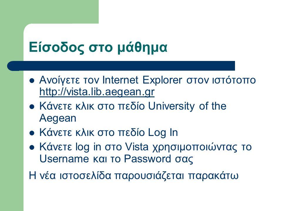 Είσοδος στο μάθημα Ανοίγετε τον Internet Explorer στον ιστότοπο http://vista.lib.aegean.gr http://vista.lib.aegean.gr Κάνετε κλικ στο πεδίο University of the Aegean Κάνετε κλικ στο πεδίο Log In Κάνετε log in στο Vista χρησιμοποιώντας το Username και το Password σας Η νέα ιστοσελίδα παρουσιάζεται παρακάτω