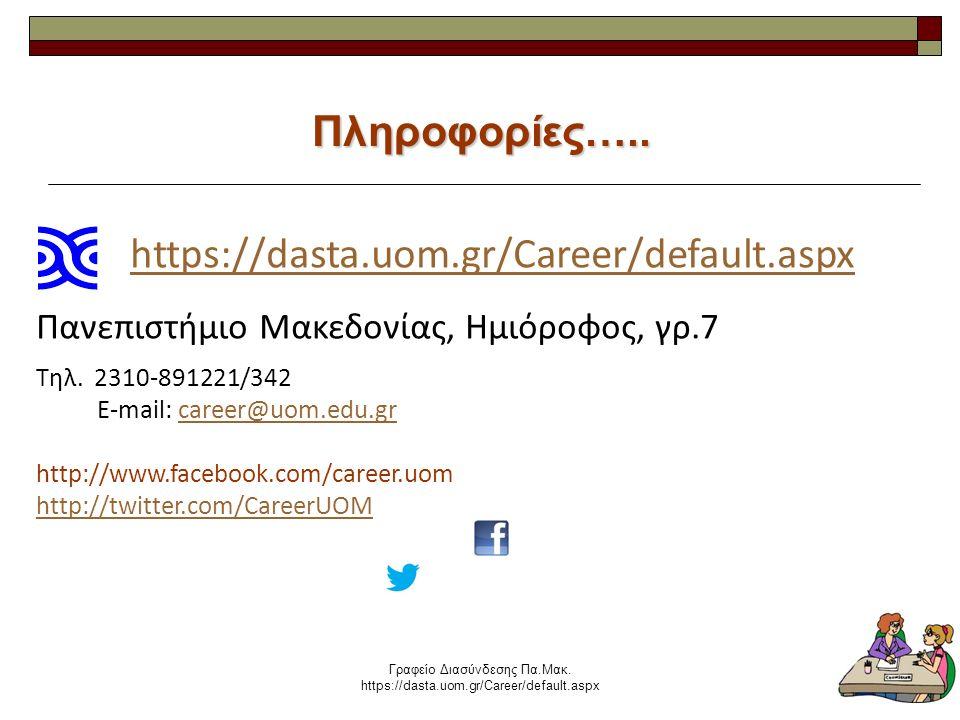 Γραφείο Διασύνδεσης Πα.Μακ. https://dasta.uom.gr/Career/default.aspx 29 Πληροφορίες…..