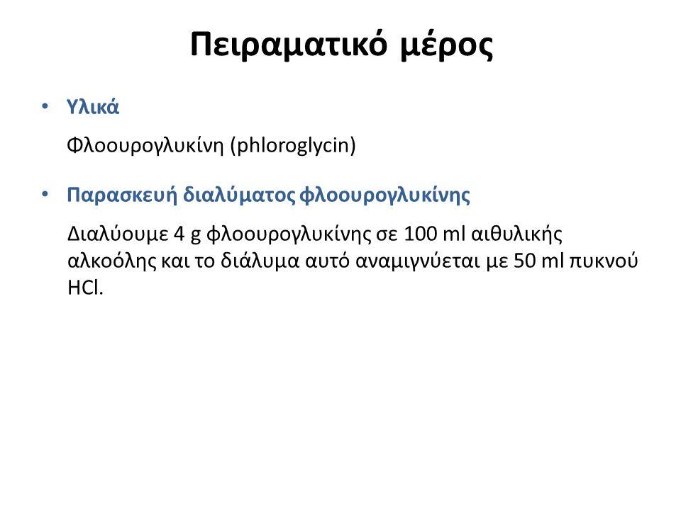Πειραματικό μέρος Υλικά Φλοουρογλυκίνη (phloroglycin) Παρασκευή διαλύματος φλοουρογλυκίνης Διαλύουμε 4 g φλοουρογλυκίνης σε 100 ml αιθυλικής αλκοόλης