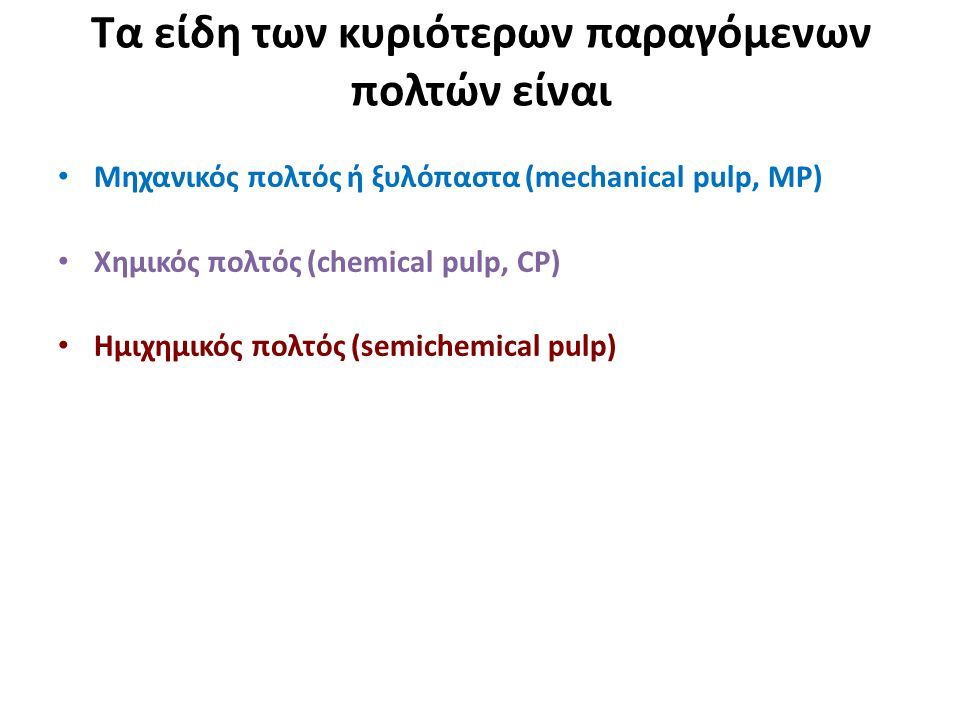 Τα είδη των κυριότερων παραγόμενων πολτών είναι Μηχανικός πολτός ή ξυλόπαστα (mechanical pulp, MP) Χημικός πολτός (chemical pulp, CP) Ημιχημικός πολτός (semichemical pulp)