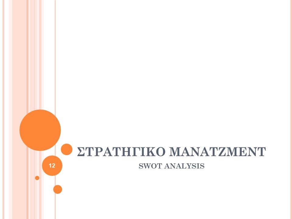 ΣΤΡΑΤΗΓΙΚΟ ΜΑΝΑΤΖΜΕΝΤ SWOT ANALYSIS 12
