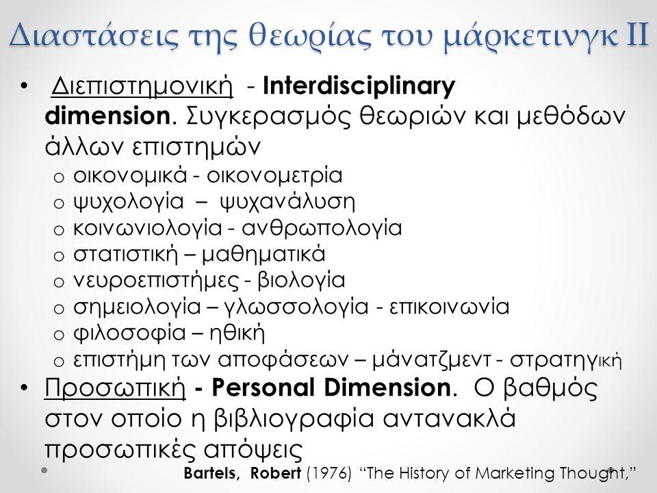 Διαστάσεις της θεωρίας του μάρκετινγκ II Διεπιστημονική - Interdisciplinary dimension. Συγκερασμός θεωριών και μεθόδων άλλων επιστημών o οικονομικά -