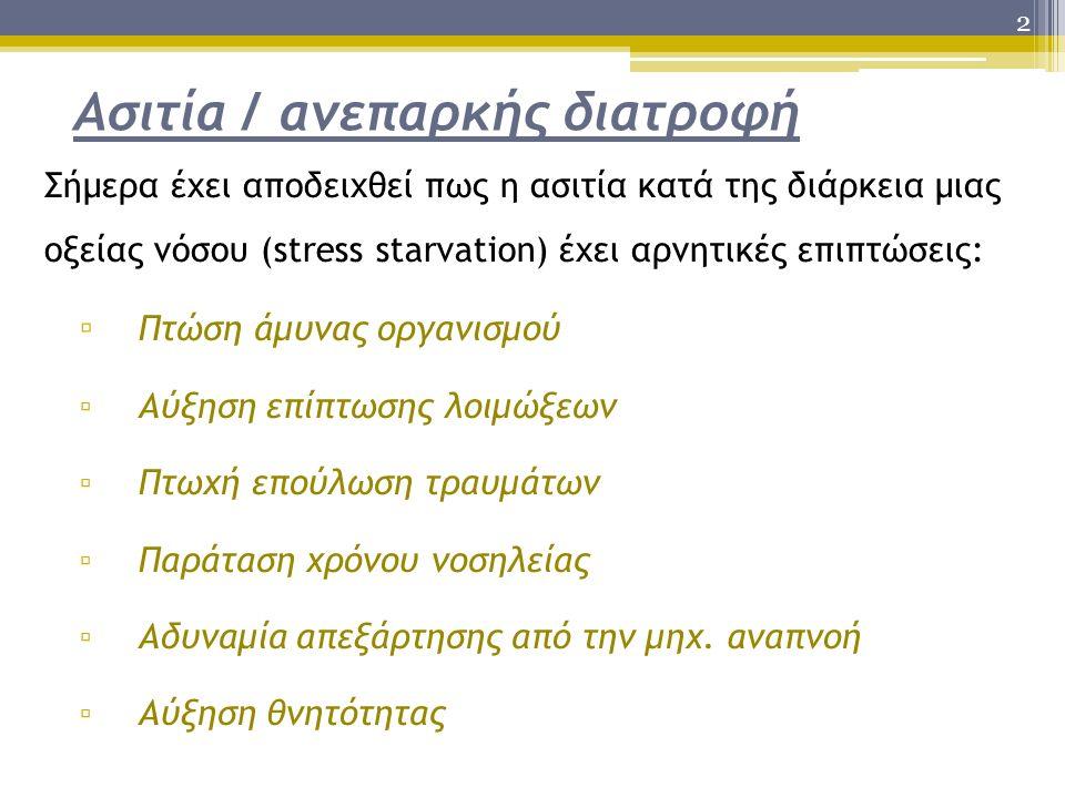 2 Ασιτία / ανεπαρκής διατροφή Σήμερα έχει αποδειχθεί πως η ασιτία κατά της διάρκεια μιας οξείας νόσου (stress starvation) έχει αρνητικές επιπτώσεις: ▫ Πτώση άμυνας οργανισμού ▫ Αύξηση επίπτωσης λοιμώξεων ▫ Πτωχή επούλωση τραυμάτων ▫ Παράταση χρόνου νοσηλείας ▫ Αδυναμία απεξάρτησης από την μηχ.