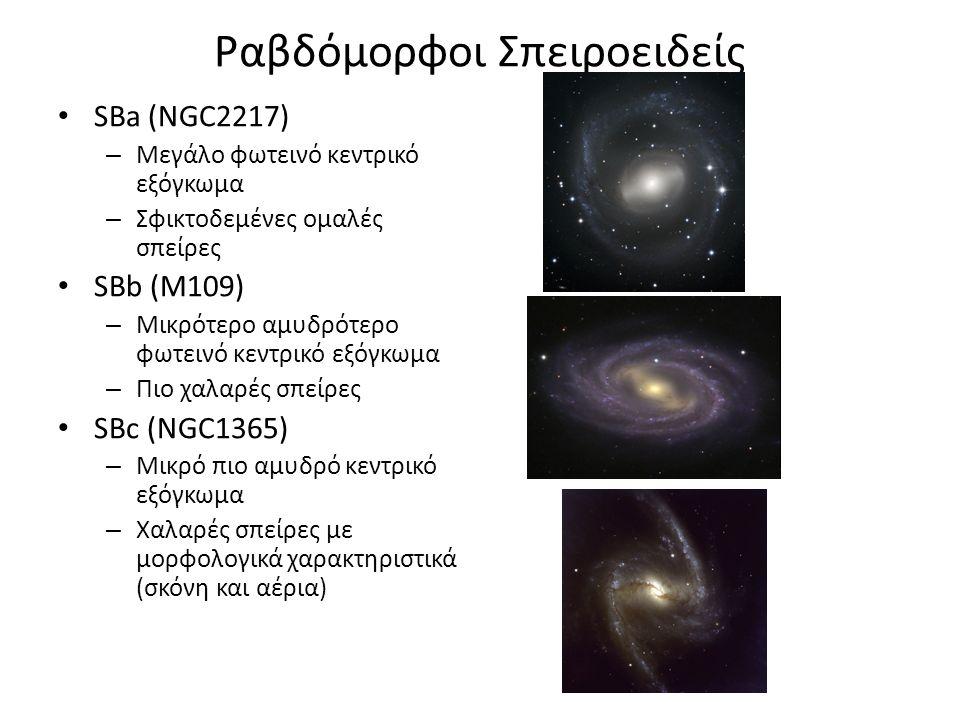 Ραβδόμορφοι Σπειροειδείς SΒa (NGC2217) – Μεγάλο φωτεινό κεντρικό εξόγκωμα – Σφικτοδεμένες ομαλές σπείρες SΒb (M109) – Μικρότερο αμυδρότερο φωτεινό κεντρικό εξόγκωμα – Πιο χαλαρές σπείρες SΒc (NGC1365) – Μικρό πιο αμυδρό κεντρικό εξόγκωμα – Χαλαρές σπείρες με μορφολογικά χαρακτηριστικά (σκόνη και αέρια)