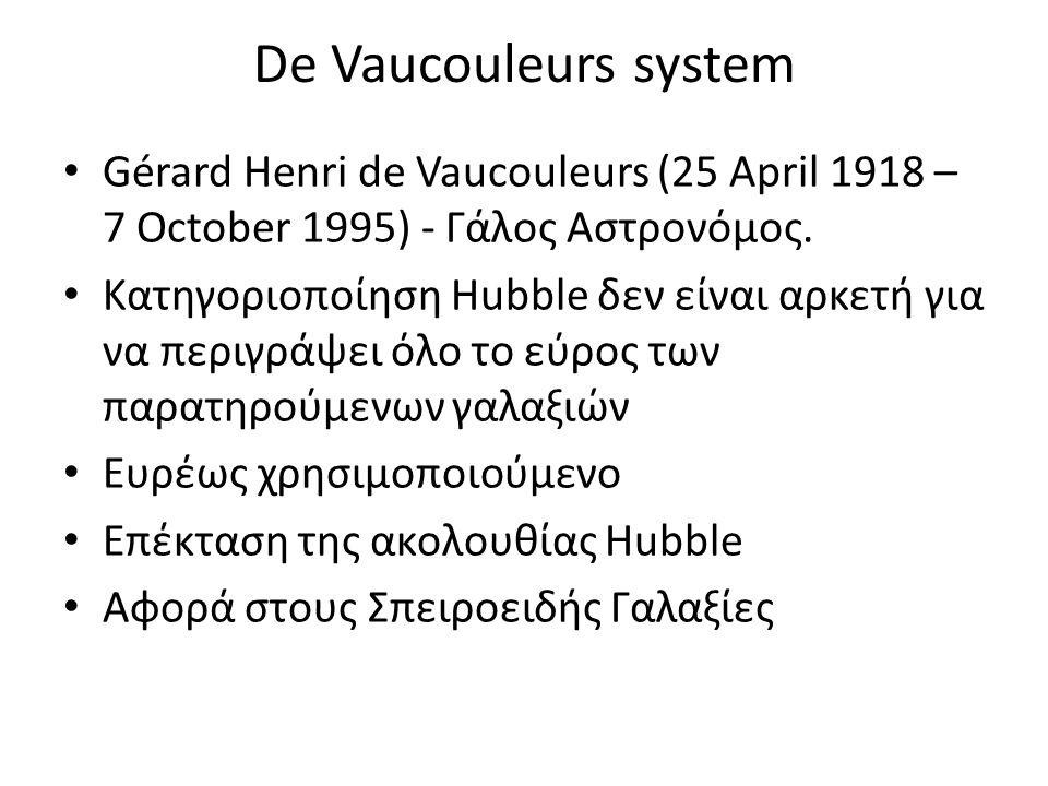De Vaucouleurs system Gérard Henri de Vaucouleurs (25 April 1918 – 7 October 1995) - Γάλος Αστρονόμος. Κατηγοριοποίηση Hubble δεν είναι αρκετή για να