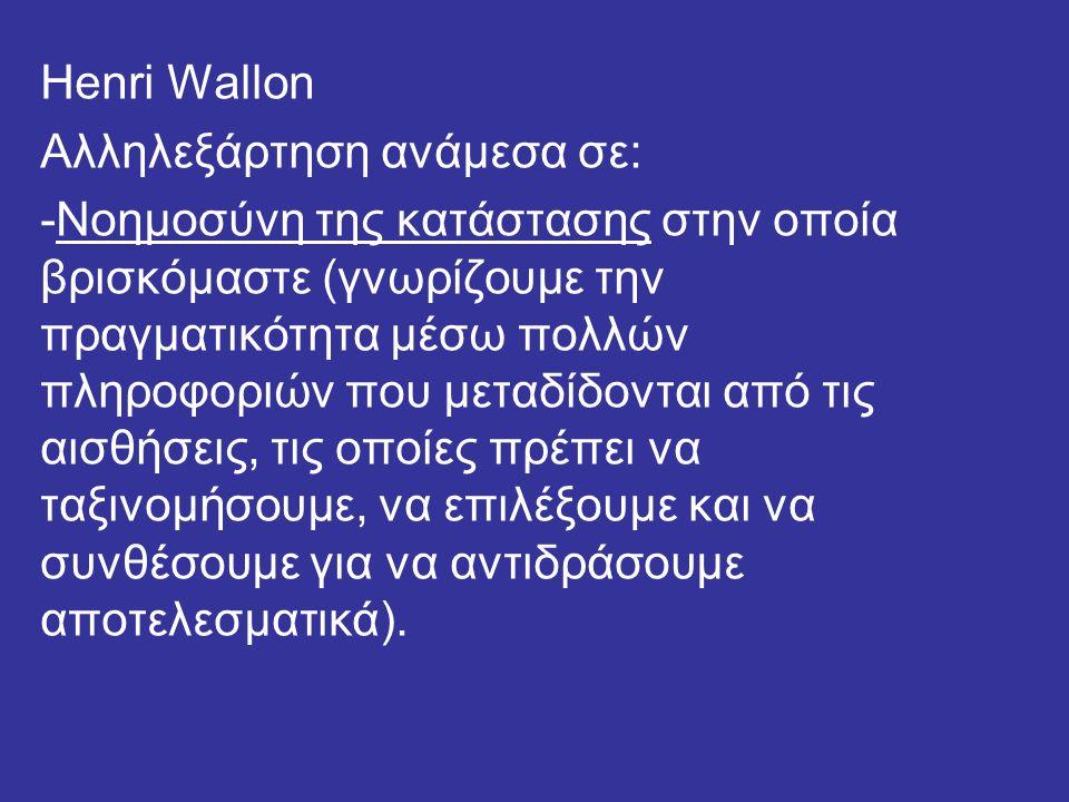 Henri Wallon Αλληλεξάρτηση ανάμεσα σε: -Νοημοσύνη της κατάστασης στην οποία βρισκόμαστε (γνωρίζουμε την πραγματικότητα μέσω πολλών πληροφοριών που μεταδίδονται από τις αισθήσεις, τις οποίες πρέπει να ταξινομήσουμε, να επιλέξουμε και να συνθέσουμε για να αντιδράσουμε αποτελεσματικά).