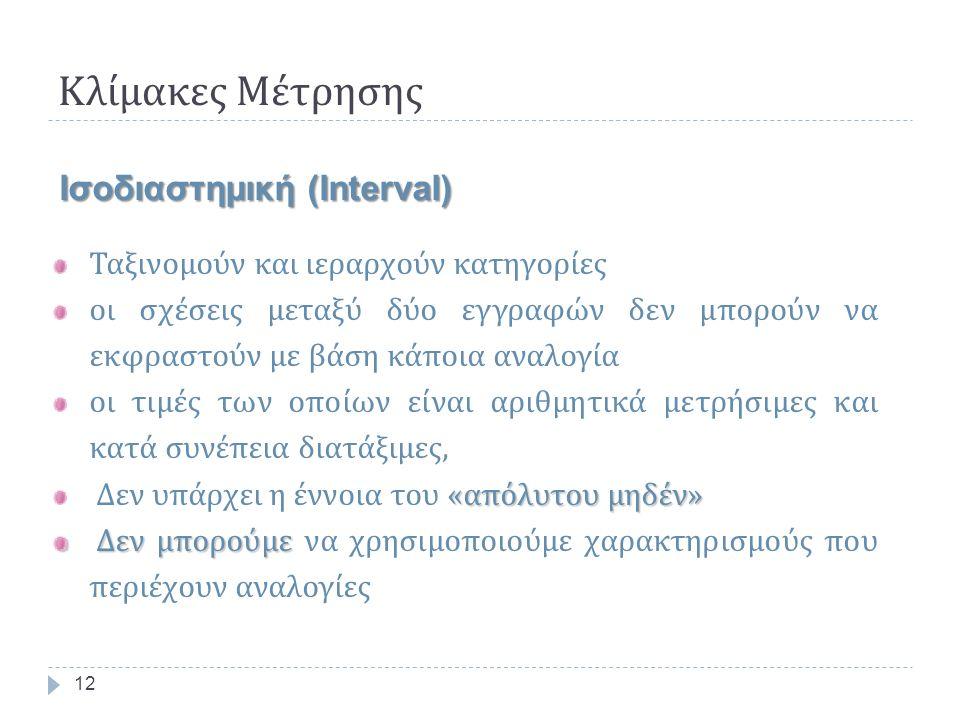 Κλίμακες Μέτρησης 12 Ισοδιαστημική (Interval) Ταξινομούν και ιεραρχούν κατηγορίες οι σχέσεις μεταξύ δύο εγγραφών δεν μπορούν να εκφραστούν με βάση κάποια αναλογία οι τιμές των οποίων είναι αριθμητικά μετρήσιμες και κατά συνέπεια διατάξιμες, «απόλυτου μηδέν» Δεν υπάρχει η έννοια του «απόλυτου μηδέν» Δεν μπορούμε Δεν μπορούμε να χρησιμοποιούμε χαρακτηρισμούς που περιέχουν αναλογίες