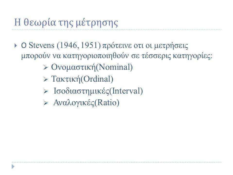 Η θεωρία της μέτρησης  Ο Stevens (1946, 1951) πρότεινε οτι οι μετρήσεις μπορούν να κατηγοριοποιηθούν σε τέσσερις κατηγορίες:  Ονομαστική(Nominal)  Τακτική(Ordinal)  Ισοδιαστημικές(Interval)  Αναλογικές(Ratio)