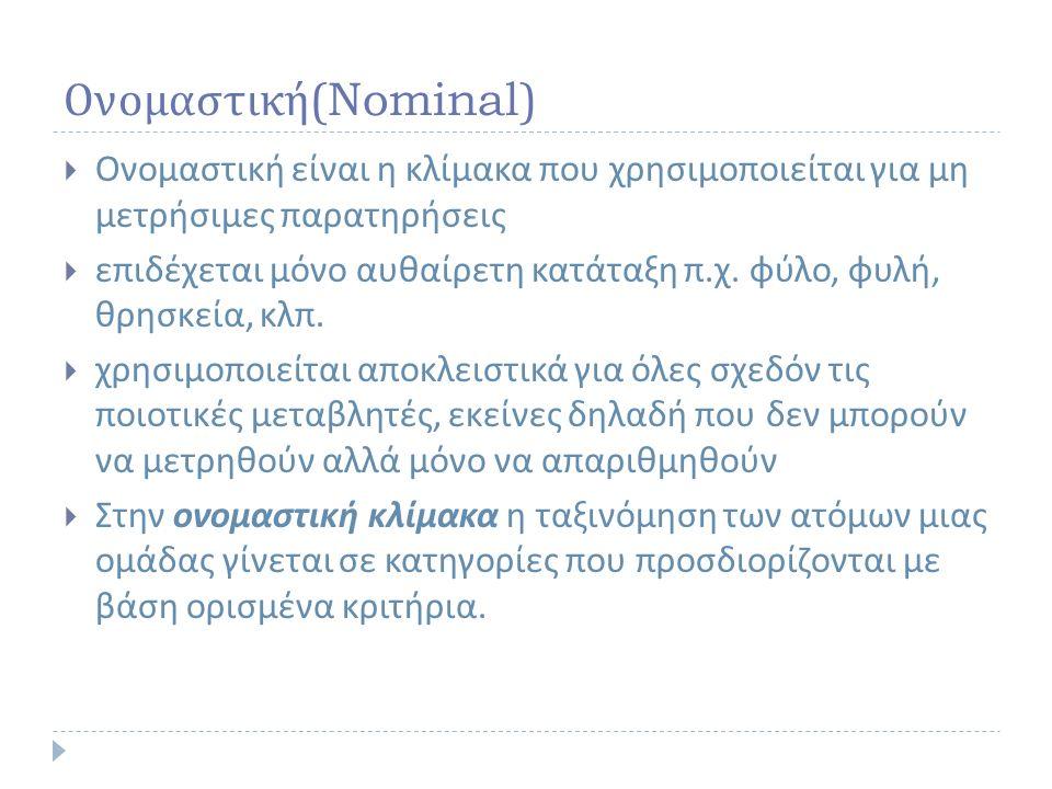 Ονομαστική (Nominal)  Ονομαστική είναι η κλίμακα που χρησιμοποιείται για μη μετρήσιμες παρατηρήσεις  επιδέχεται μόνο αυθαίρετη κατάταξη π.