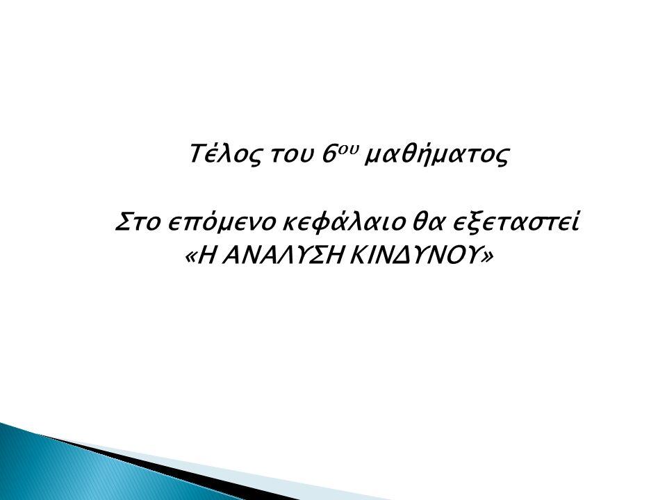 Τέλος του 6 ου μαθήματος Στο επόμενο κεφάλαιο θα εξεταστεί «Η ΑΝΑΛΥΣΗ ΚΙΝΔΥΝΟΥ»